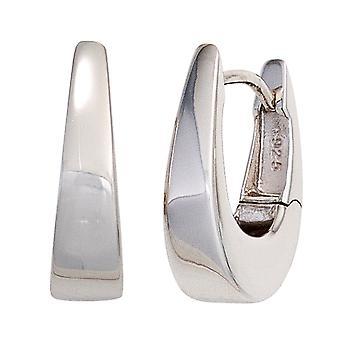 Rhodium-plated oval hoop earrings 925 Sterling Silver earrings silver Keywork