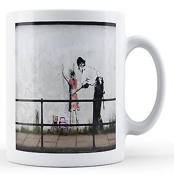 Banksy Printed Mug - Police Frisk Young Girl 2 - BKM185