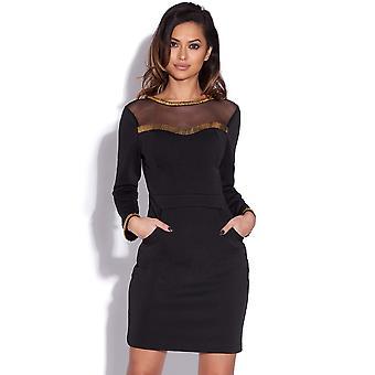 Gull prydet svarte Bodycon kjole