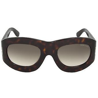 Tom Ford FT0403 56B Mila Oval Sunglasses   Dark Havana Frame   Grey Gradient Lens