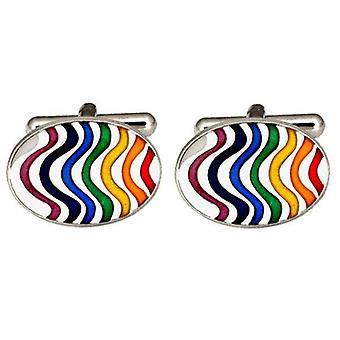 David Van Hagen Rainbow Wave Cufflinks - Multi-colour