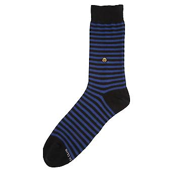 The Moja Club Striped Midcalf Socks - Blue/Black