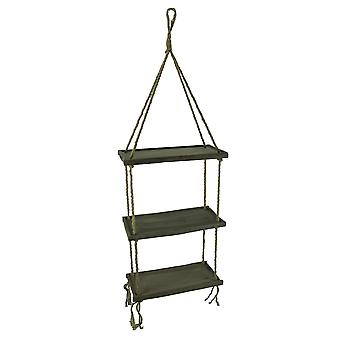 Wood and Rope 3 Tier Hanging Shelf