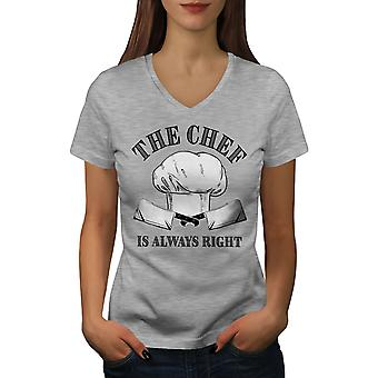 Always Right Women GreyV-Neck T-shirt | Wellcoda