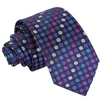 Lila, blå & Rosa rutig prickiga smal slips