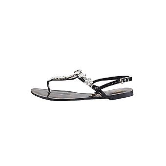 Lovemystyle Black Sandals With Silver Diamante Embellishments