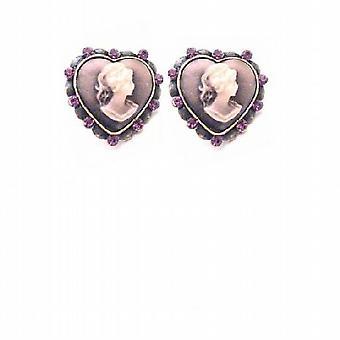 حجاب نوعية المجوهرات القلب على شكل أقراط حجاب ث بلورات الجمشت