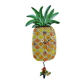 Allen Designs Pineapple Time Parrot Pendulum Wall Clock 17 in.