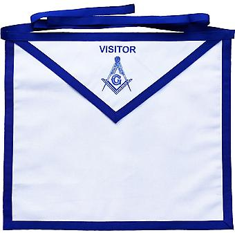 Masonic Blue Lodge White Cotton Duck Cloth Visitor Apron Printed