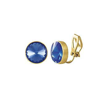 Eternal Collection Treasure Sapphire Blue Crystal Gold Tone Stud Clip On Earrings
