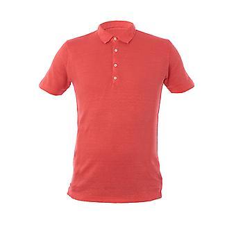 120% P0m7282000e908301p010 Men's Pink Linen Polo Shirt
