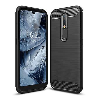 Nokia 4,2 TPU Case kolfiber optik borstat skydd Case grå