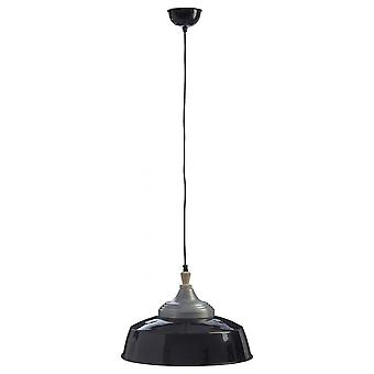Fusion Living Large Iron and Wood Black Pendant