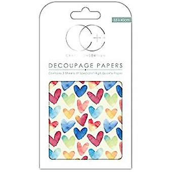 Craft Consortium Watercolour Hearts Decoupage Papers (CCDECP263)