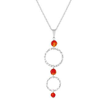Eternal Collection Infinito Silver Hoop And Fire Opal Crystal Pendant