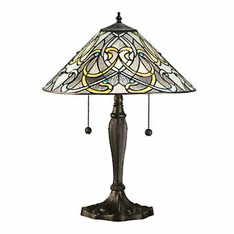 2 Light Table Lampe Dunkle Bronze, Tiffany Glas