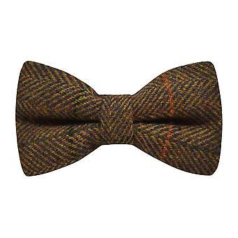 Luxury Dijon Brown Herringbone Check Bow Tie, Tweed