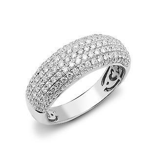 Jewelco London Solid 18ct White Gold Pave Set Round G SI1 1ct Diamond Domed Bombe Eternity Ring 7mm