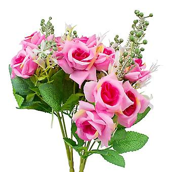 2-pack plastic floral bouquet, roses-pink