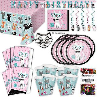 Cat cats kittens party set XL 57-teilig 8 guests cat party birthday party package