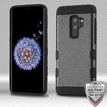 MYBAT Carbon Fiber/Black TUFF Trooper Hybrid Protector Cover for Galaxy S9 Plus