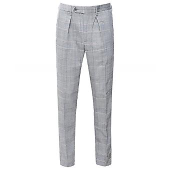 Hackett Washed Wool Prince Of Wales Check Trousers