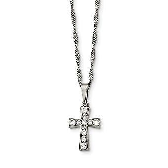Ruostumaton teräs kiillotettu uskonnollinen usko Cross CZ Cubic Zirkonia Simuloitu Diamond kaulakoru 18 tuuman korut lahjat Wo