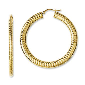 Stainless Steel Polished Yellow Ion plated Textured Hollow Hoop Earrings Jewelry Gifts for Women