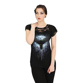 Spiral Crow Moon Lace Layered Cap Sleeve Top XXL
