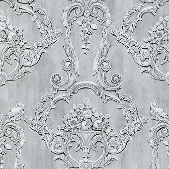 Grosvenor 3D Effect Floral Damask Wallpaper Debon