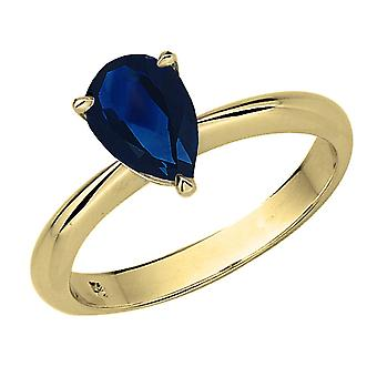 Dazzlingrock Collection 10K 8X6mm Pear Cut Blue Sapphire Solitaire Bridal Engagement Ring, Yellow Gold