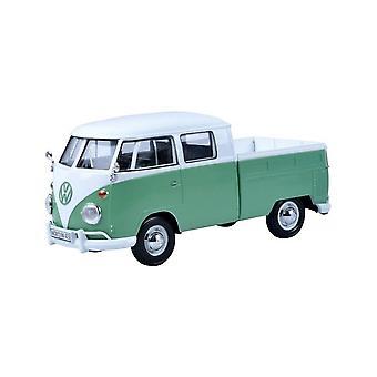 MotorMax Motormax Volkswagen VW Type 2 (T1) Double Cab Pick Up Green & White 1:24