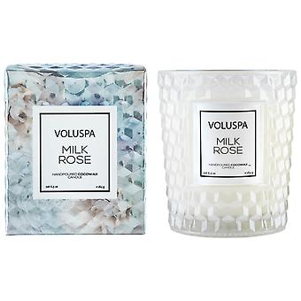 Voluspa Rosen Boxed strukturierte Glas Kerze Milch Rose 184g