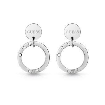 Guess Jewellery Logo Coin Circle Silver Earrings UBE29030