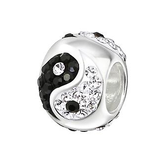 Yin Yang - 925 Sterling Silver Jewelled Beads - W5830X