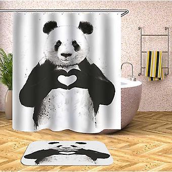Rideau de douche de panda affectueux