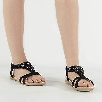 Shumo Ravello Ladies Elasticated Strappy Summer Sandals Black