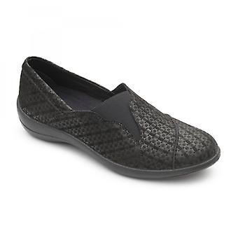 Padders Ruth Ladies Couro Wide (e Fit) Loafers Black Combi