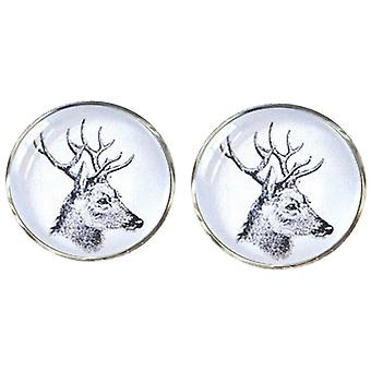 Bassin and Brown Side Stags Head Cufflinks - White/Black