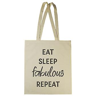 Jedz sen fabulous repeat - Canvas Tote Shopping Bag