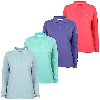 Island Green Ladies Long Sleeve 4 Button Golf Polo Shirt