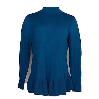 Isaac Mizrahi Live! Kvinder ' s sweater mock-Neck langærmet blå A346837