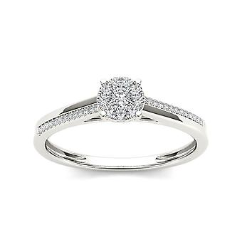 IGI Certified 10k White Gold 0.15 Ct Diamond Cluster Classic Engagement Ring