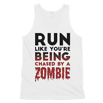 Chased By Zombie Mens White Wonderful Funny Tank Top Birthday Gift