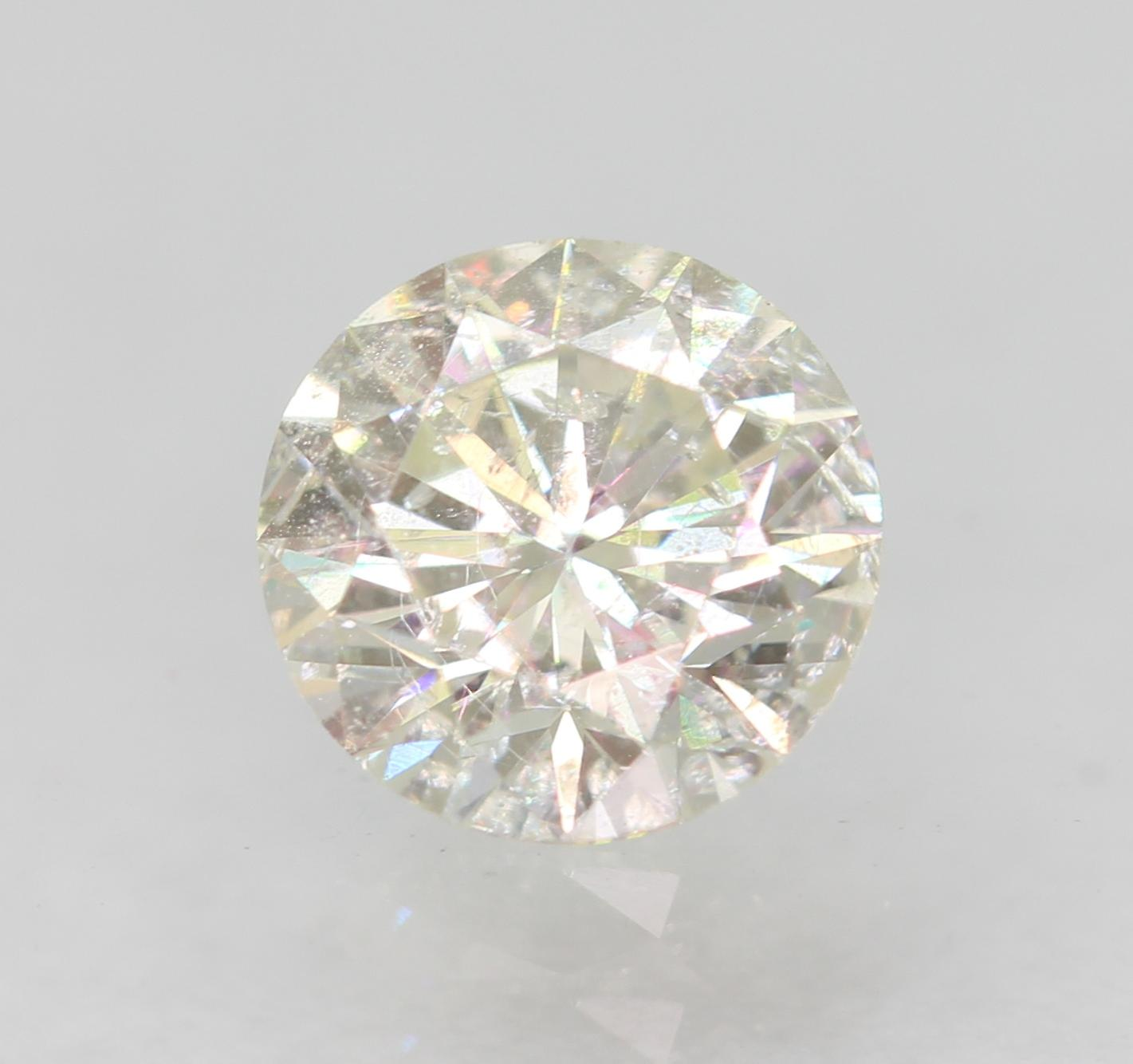 Certified 0.44 Carat H SI1 Round Brilliant Enhanced Natural Diamond 4.9mm 3EX