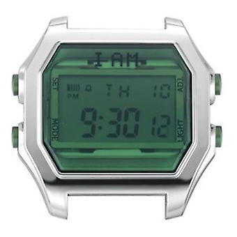 Watch I Am The Watch IAM-104 - Bo tier Aspect M tal Silver Glass and Green Buttons / Horn Set 20 mm