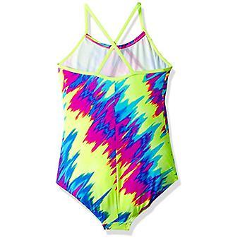 Nike Swim Girls' Big Crossback One Piece, Fuchsia Blast Splash, Size 12