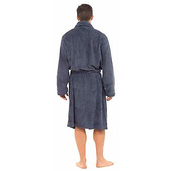 Tom Franks Mens Classic texturate Supersoft Fleece Nightwear Halat de baie