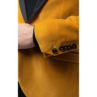 Twisted Tailor Herre guld fløjl jakke Skinny pasform