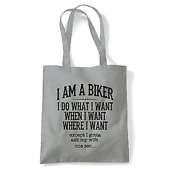 I Am A Biker Mens Motorbike Tote - MotoGP Superbike TT Reusable Canvas Bag
